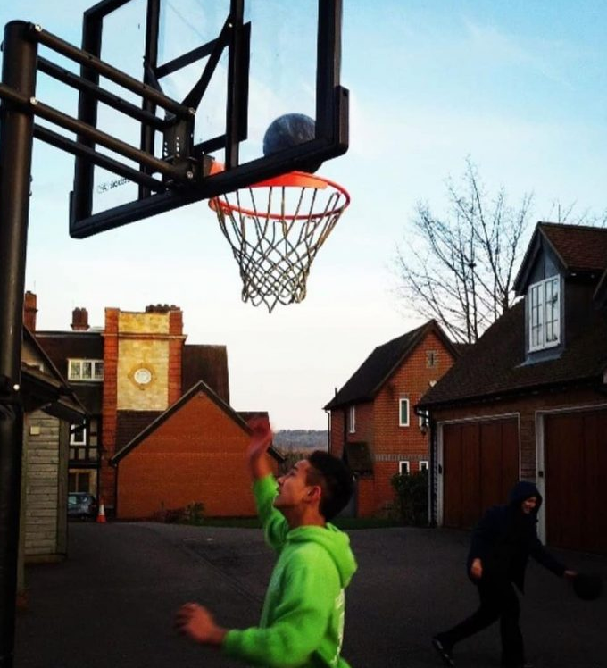 photo of the winger having a nice time at the basketball court.