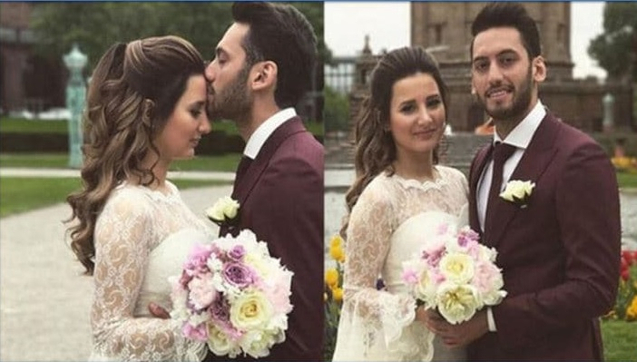 phto of Calhanoglu and his beautiful wife.
